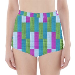 Textile Texture Purple Baby Blue High-Waisted Bikini Bottoms