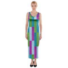 Textile Texture Purple Baby Blue Fitted Maxi Dress