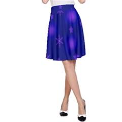 Blue Xmas design A-Line Skirt