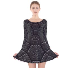 Tile Emboss Luxury Artwork Depth Long Sleeve Velvet Skater Dress