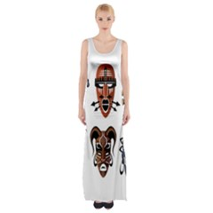Tribal Masks African Culture Set Maxi Thigh Split Dress