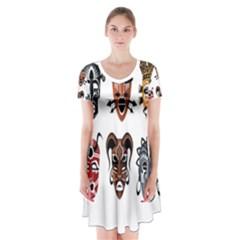 Tribal Masks African Culture Set Short Sleeve V-neck Flare Dress