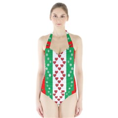 Ugly Holiday Christmas Pattern Halter Swimsuit
