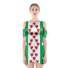 Ugly Holiday Christmas Pattern Cutout Shoulder Dress