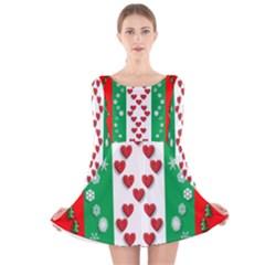 Ugly Holiday Christmas Pattern Long Sleeve Velvet Skater Dress