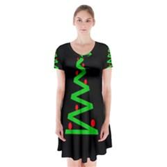 Simple Xmas tree Short Sleeve V-neck Flare Dress