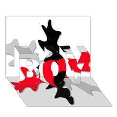 Gray, red and black shape BOY 3D Greeting Card (7x5)