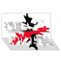 Gray, Red And Black Shape Best Wish 3d Greeting Card (8x4)