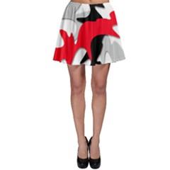 Gray, red and black shape Skater Skirt