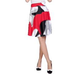 Gray, red and black shape A-Line Skirt