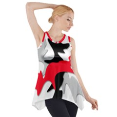 Gray, red and black shape Side Drop Tank Tunic