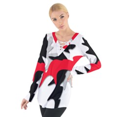 Gray, red and black shape Women s Tie Up Tee