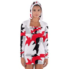 Gray, red and black shape Women s Long Sleeve Hooded T-shirt