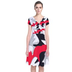 Gray, red and black shape Short Sleeve Front Wrap Dress