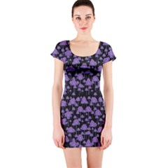 Palm Trees Motif Pattern Short Sleeve Bodycon Dress