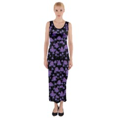 Palm Trees Motif Pattern Fitted Maxi Dress