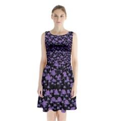 Palm Trees Motif Pattern Sleeveless Chiffon Waist Tie Dress