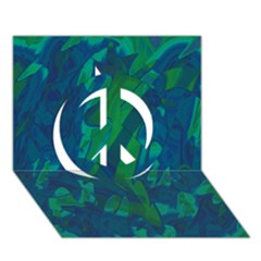 Green And Blue Design Peace Sign 3d Greeting Card (7x5)
