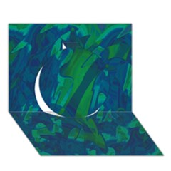 Green and blue design Circle 3D Greeting Card (7x5)