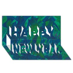 Green and blue design Happy New Year 3D Greeting Card (8x4)