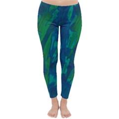 Green and blue design Winter Leggings