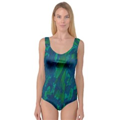 Green And Blue Design Princess Tank Leotard