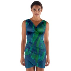Green and blue design Wrap Front Bodycon Dress