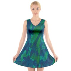 Green and blue design V-Neck Sleeveless Skater Dress
