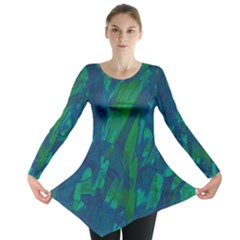 Green and blue design Long Sleeve Tunic