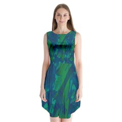 Green and blue design Sleeveless Chiffon Dress