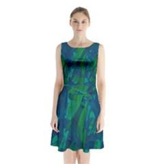 Green And Blue Design Sleeveless Chiffon Waist Tie Dress
