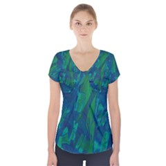 Green and blue design Short Sleeve Front Detail Top