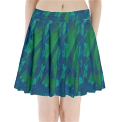 Green and blue design Pleated Mini Skirt
