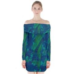Green And Blue Design Long Sleeve Off Shoulder Dress