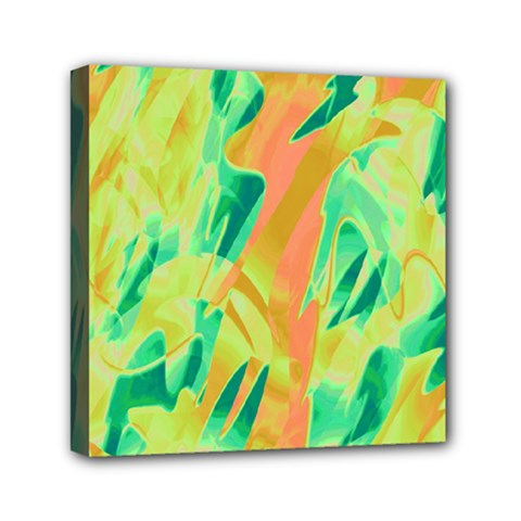 Green and orange abstraction Mini Canvas 6  x 6