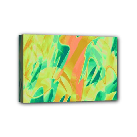 Green and orange abstraction Mini Canvas 6  x 4