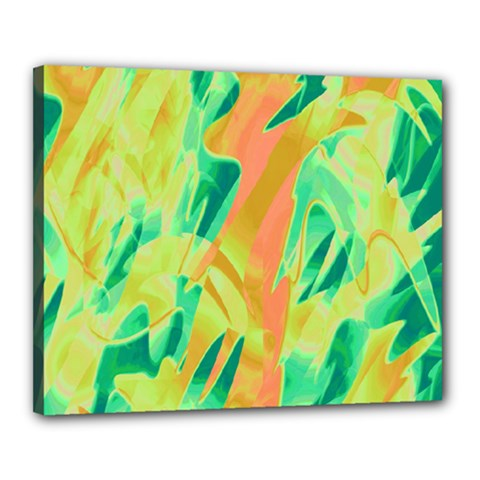 Green and orange abstraction Canvas 20  x 16