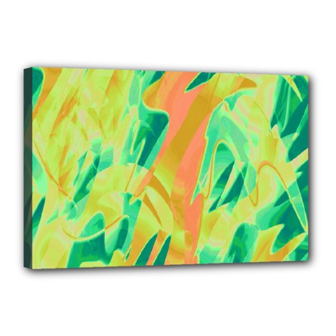 Green and orange abstraction Canvas 18  x 12