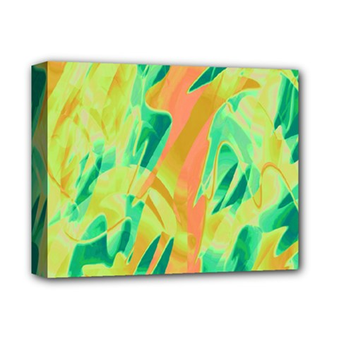 Green and orange abstraction Deluxe Canvas 14  x 11