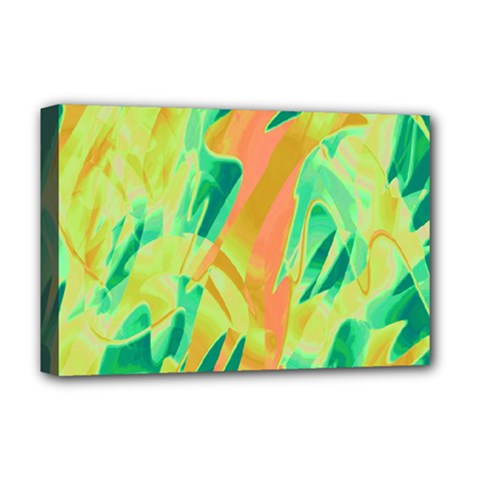 Green and orange abstraction Deluxe Canvas 18  x 12