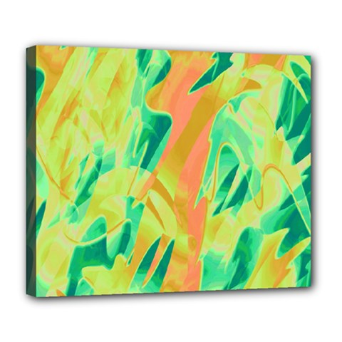 Green and orange abstraction Deluxe Canvas 24  x 20