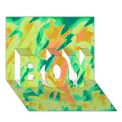 Green and orange abstraction BOY 3D Greeting Card (7x5)