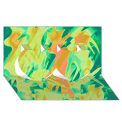 Green and orange abstraction Twin Hearts 3D Greeting Card (8x4)