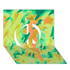 Green and orange abstraction Peace Sign 3D Greeting Card (7x5)