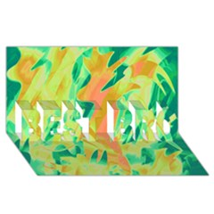 Green and orange abstraction BEST BRO 3D Greeting Card (8x4)