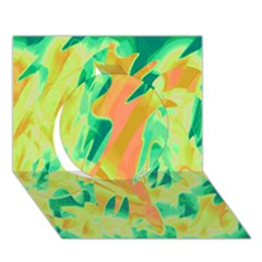Green and orange abstraction Circle 3D Greeting Card (7x5)