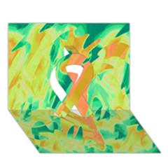 Green and orange abstraction Ribbon 3D Greeting Card (7x5)
