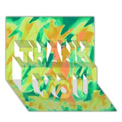 Green and orange abstraction THANK YOU 3D Greeting Card (7x5)