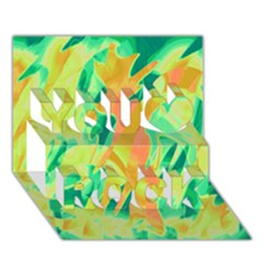Green and orange abstraction You Rock 3D Greeting Card (7x5)