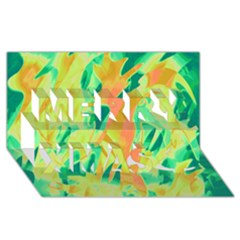 Green and orange abstraction Merry Xmas 3D Greeting Card (8x4)